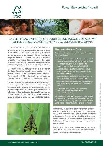 FS - HCVF and biodiversity SP.indd - HCV Resource Network