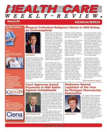 February 20, 2012 Issue - Health Care Weekly Review