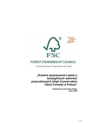 """""""Kryteria wyznaczania Lasów o szczególnych walorach ..."""