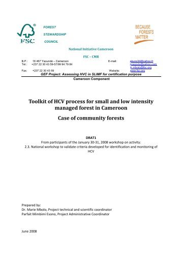 Toolkit of CV Process for Small and Low Intensity Managed Forest in ...