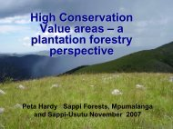 High Conservation Value areas – a plantation forestry perspective