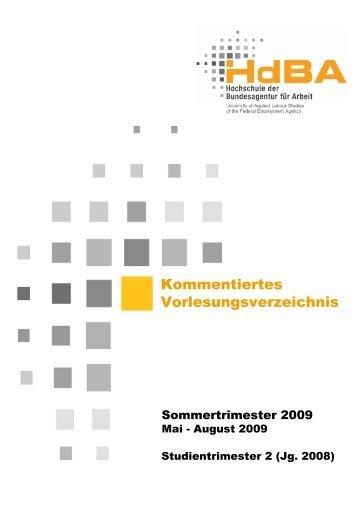 Kommentiertes Vorlesungsverzeichnis - Hochschule der ...