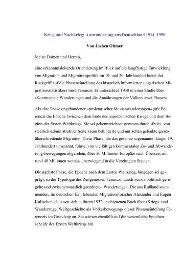 Krieg und Nachkrieg: Auswanderung aus Deutschland 1914–1950 ...