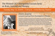 The Fifteenth UCI Distinguished Lecture Series on Brain, Learning ...