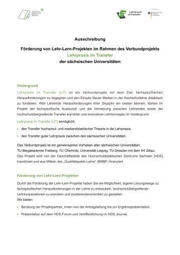 Ausschreibung Förderung von Lehr-Lern-Projekten im Rahmen des ...