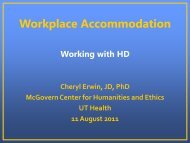 Workplace Accommodations and HD