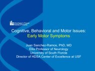 Cognitive, Behavioral and Motor Issues: Early Motor Symptoms