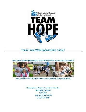 Duluth THW Sponsorship Packet - Huntington's Disease Society of ...