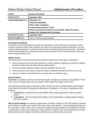 Student Excursions 2012 - Halton District School Board