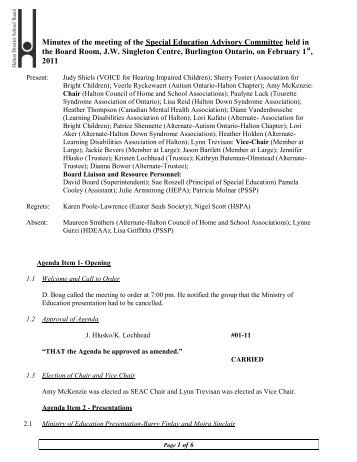 SEAC Minutes February 1, 2011 - Halton District School Board