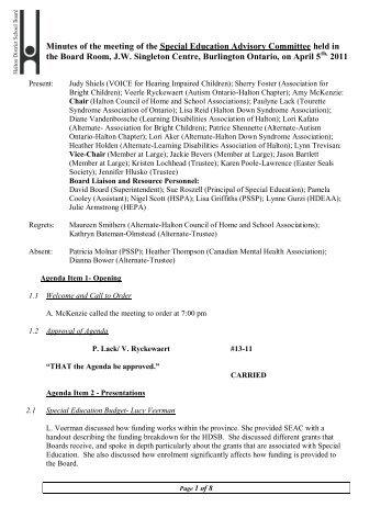SEAC Minutes April 5, 2011 - Halton District School Board