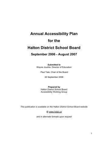 2006-2007 Accessibility Plan - Halton District School Board