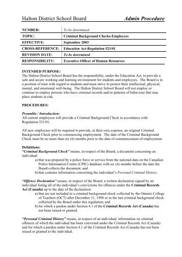 Criminal Background Checks - Halton District School Board
