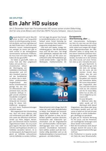 Ein Jahr HD suisse - HDTV-Forum Schweiz