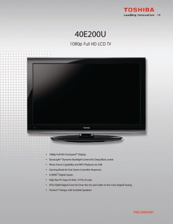 40E200U - Toshiba Display Systems