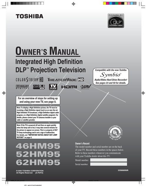 toshiba 62hm95 projection tv service manual download