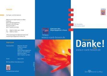 Ehrenamts- Card Danke! www.e-card-hessen.de www.e-card ...