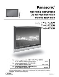 Operating Instructions Digital High Definition Plasma Television TH ...