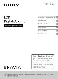 LCD Digital Color TV - Manuals, Specs & Warranty - Sony