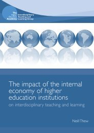 The impact of the internal economy of higher education institutions