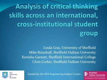 Analysis of critical thinking skills across an international, cross ...