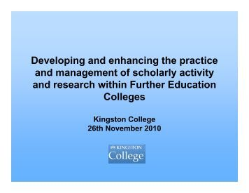 Developing and enhancing the practice and management of ...