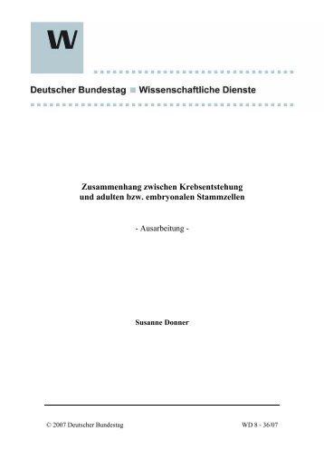 Zusammenhang zwischen Krebsentstehung ... - Deutscher Bundestag