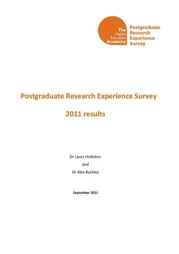 Postgraduate Research Experience Survey (PRES) 2011 - Higher ...