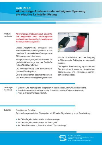 AAM 200-9 Aktivanzeige-Ansteuermodul mit eigener Speisung als ...
