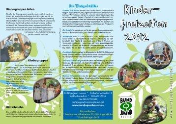 Kinderfreizeitenprogramm 2012 - Bundjugend Hessen