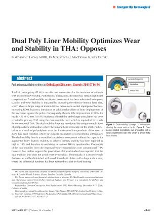 Dual Poly Liner Mobility Optimizes Wear and Stability in ... - Healio