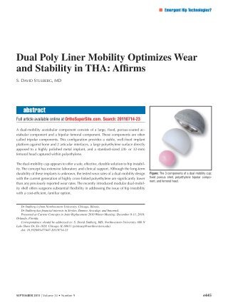 Dual Poly Liner Mobility Optimizes Wear and Stability in THA - Healio