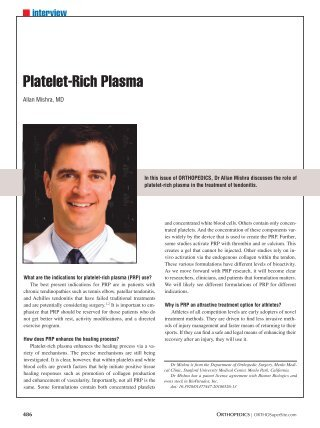 Platelet-Rich Plasma - Healio