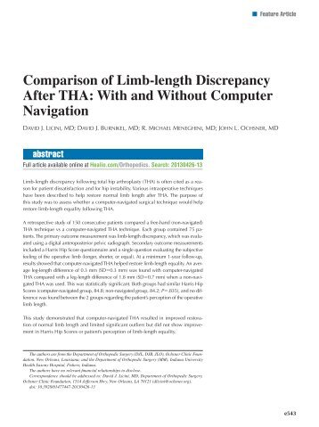 Comparison of Limb-length Discrepancy After THA: With ... - Healio