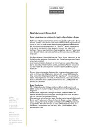 DE PRESSE Wachstumsmarkt Gesundheit - Health & Care
