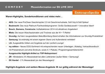 Comfort Messeeinladung EK LIVE 2014