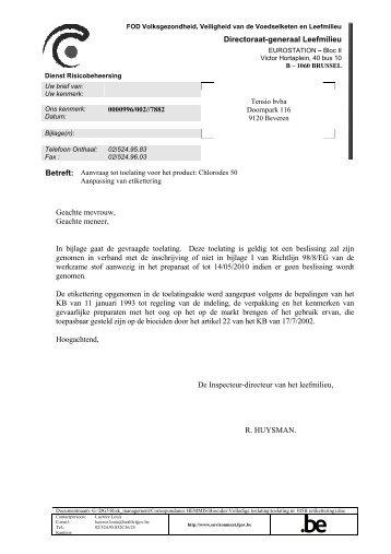 Directoraat-generaal Leefmilieu Geachte mevrouw, Geachte ...