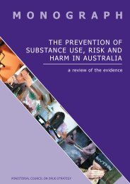 The Prevention of Substance Use, Risk and Harm in Australia - a ...