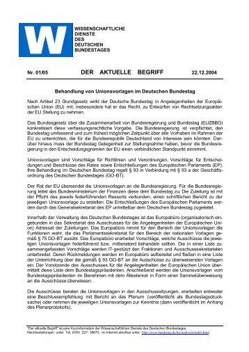 DER AKTUELLE BEGRIFF - Deutscher Bundestag