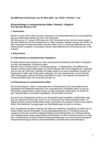 Sicherheitslage in venezolanischen Häfen (PDF, 19 ... - Bundespolizei