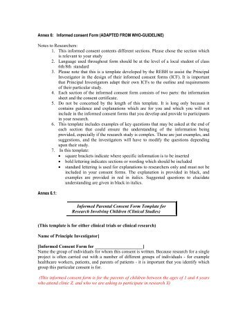 Research Subject Information And Consent Form Main Consent