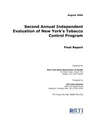 Second Annual Independent Evaluation of New York's Tobacco ...