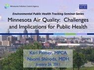 MPCA Air Regulatory Update - Minnesota Department of Health