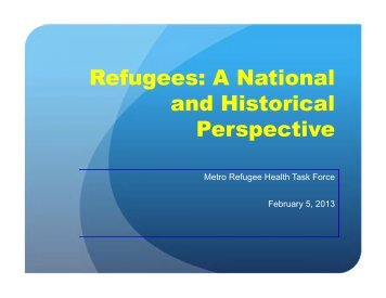 Refugees: A National and Historical Perspective - Minnesota Dept ...