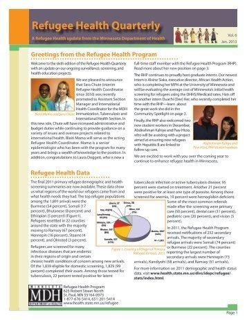 Refugee Health Quarterly - Minnesota Department of Health