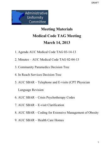AUC Medical Code TAG Meeting Materials 03-14-13 - Minnesota ...