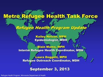 Refugee Health Program Update - Minnesota Department of Health