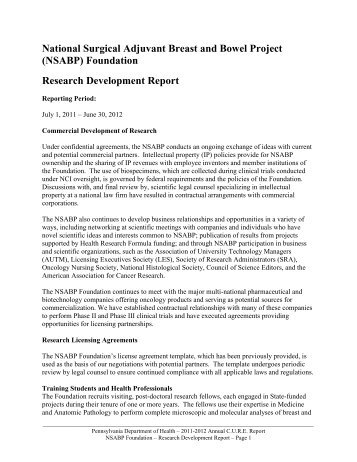 Res Dev Rep SFY11 NSABP 10-3-12.pdf - Pennsylvania ...