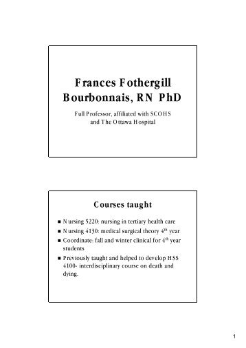Frances Fothergill Bourbonnais, RN PhD - Faculty of Health Sciences