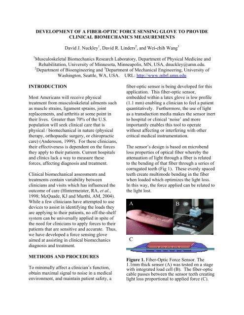 Development Of A Fiber-Optic Force Sensing Glove To Provide
